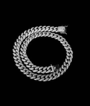 (12MM) WHITE GOLD ICED CUBAN CHAIN