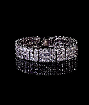 (14MM) WHITE GOLD THREE ROW TENNIS BRACELET