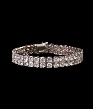 (10MM) WHITE GOLD TWO ROW TENNIS BRACELET