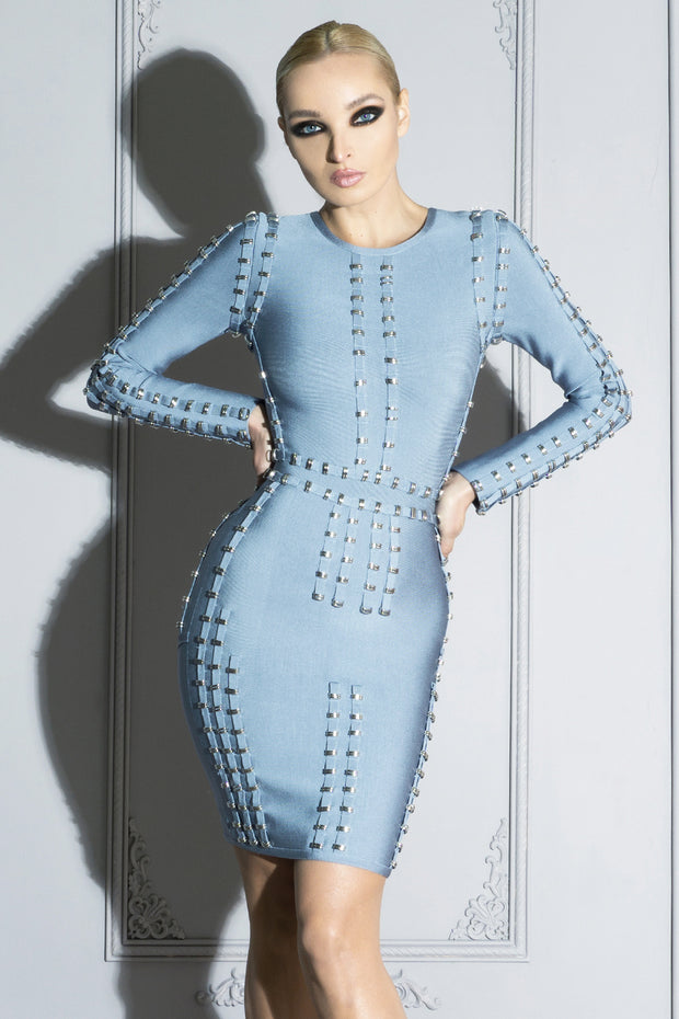 LILIANA | Metal Embellished Blue Bandage Dress