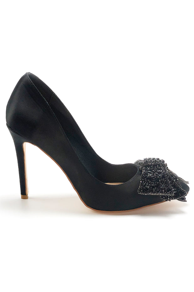VALENTINA | Black Satin Bowtie Pump