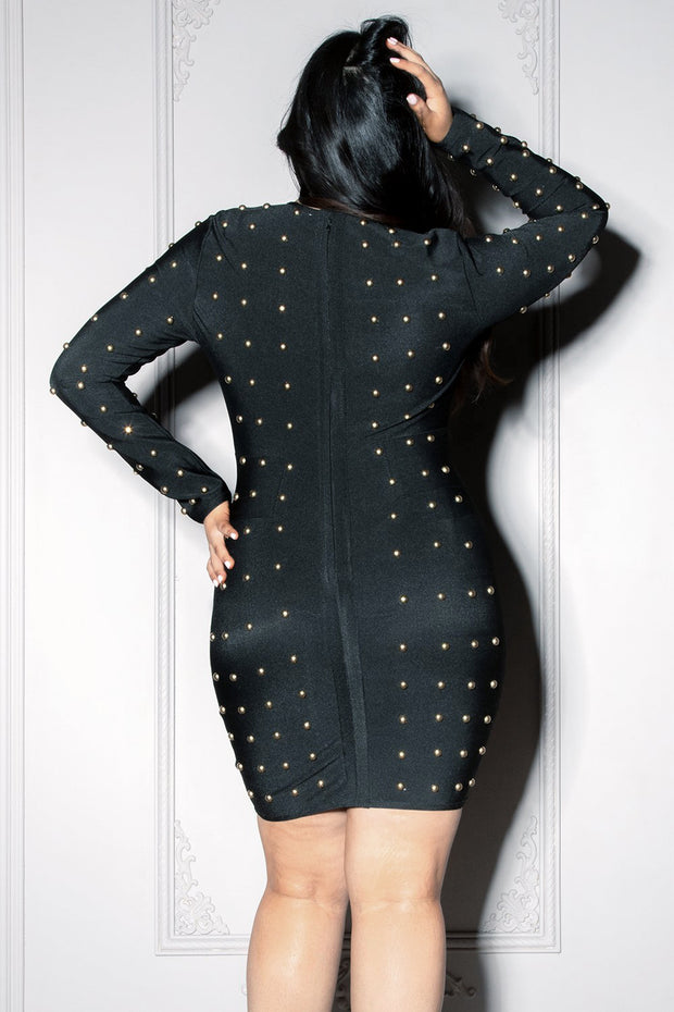 KARA | Gold Studded Bandage Dress