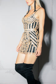 MAYA | Gold Art Deco Mini Dress