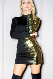 PENELOPE | Black Mini Dress Gold Sequin Embroidery