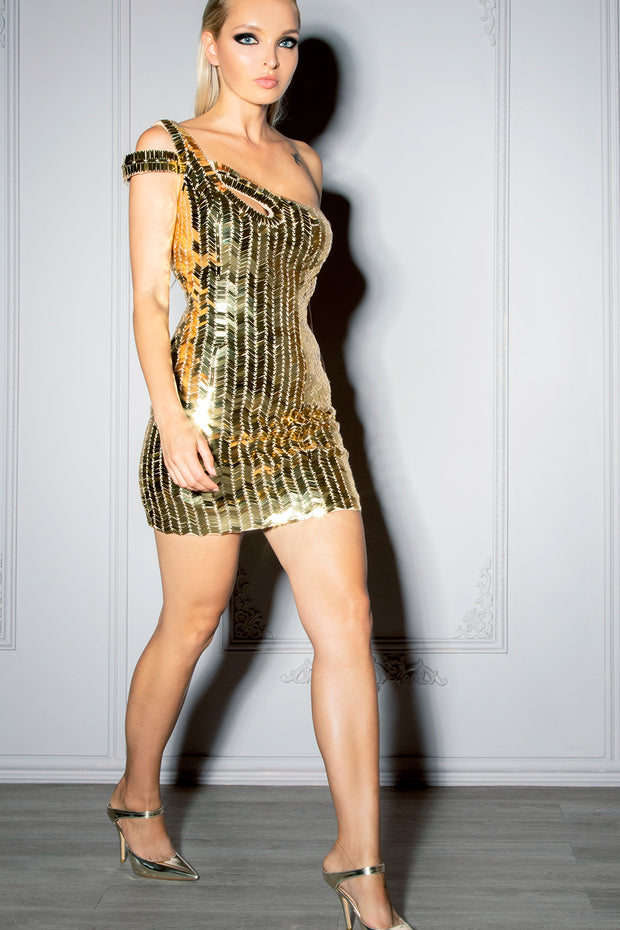 ALEXANDRA | Gold Sequin Mini Dress