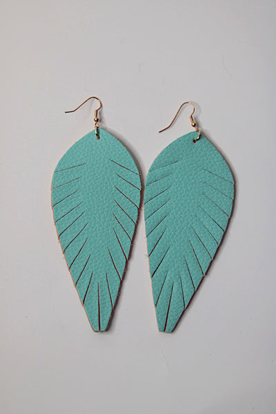Aqua Toucan Feathered Earrings