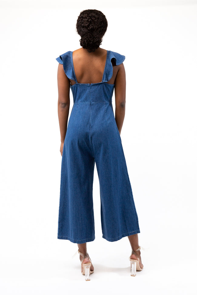 Adora Frill Dark Blue Denim Jumpsuit
