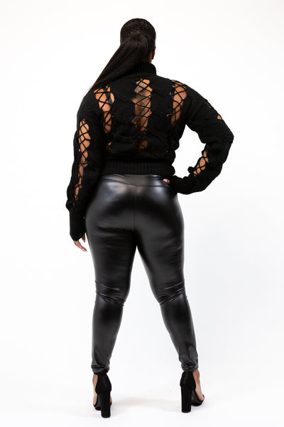 Lotus Black Faux Leather Leggings