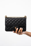 Black Luxey Quilted MiniPearl Handbag