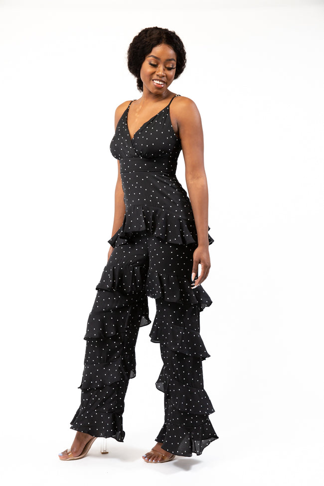 Black Frill In You Jumpsuit