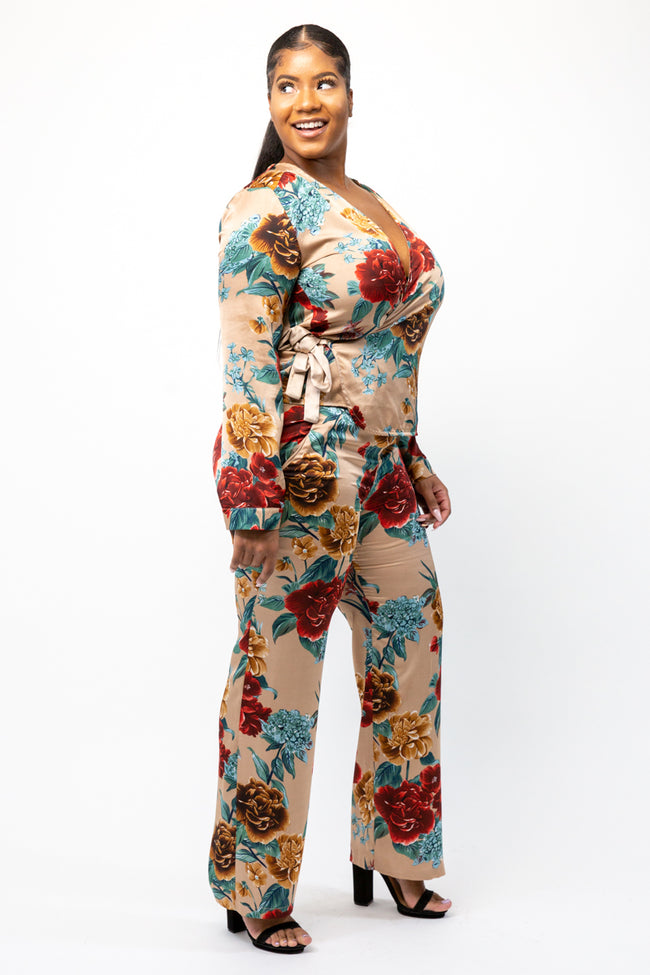 Champagne Floral Wrap Up Co-Ord Set