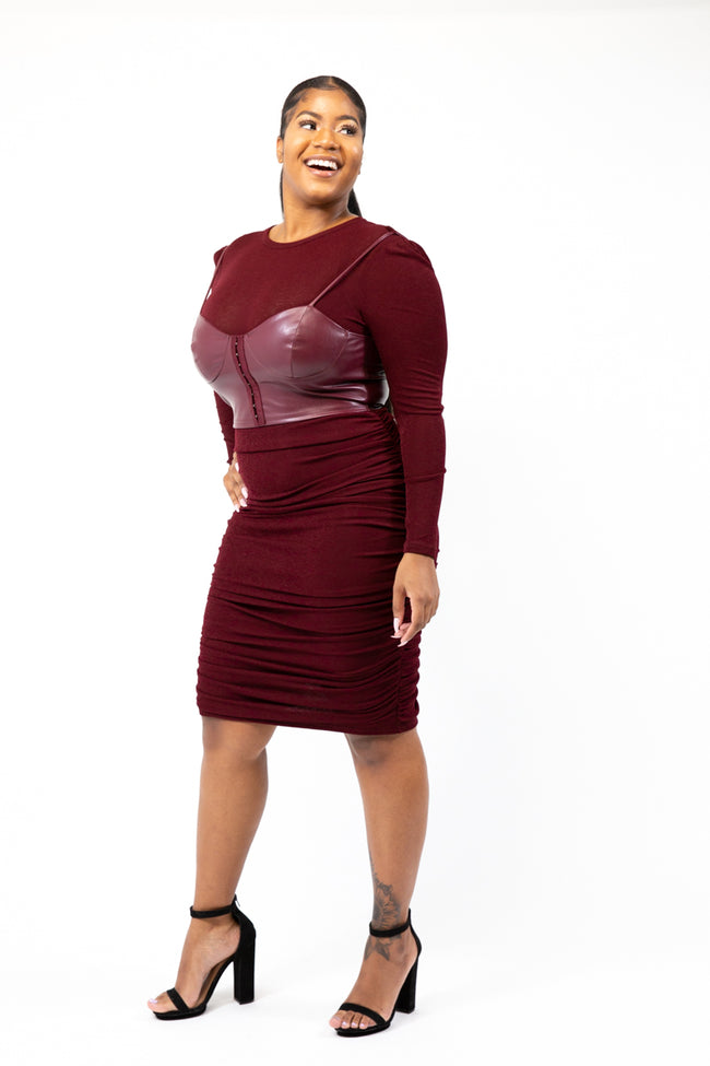 Bodygoals Burgundy Corset Bodycon Dress