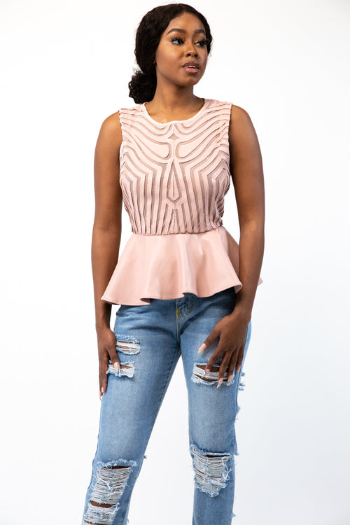 Blushing Mesh Leather Peplum Top