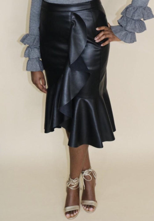 Aubrey Frill Leather Skirt