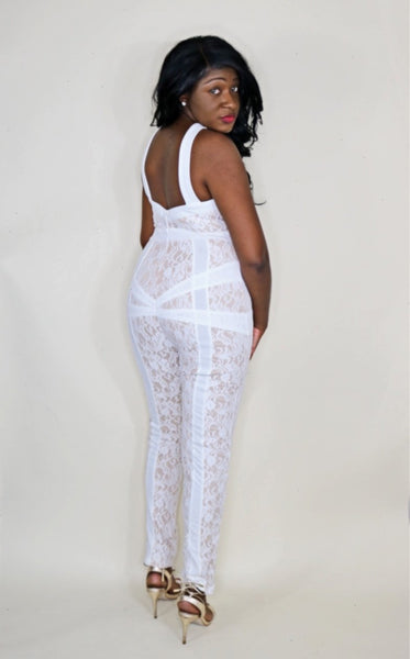 French Vanilla Lace Nude Jumpsuit
