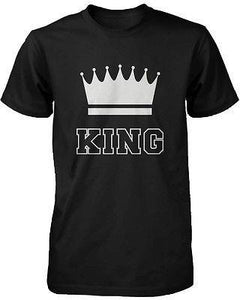 Cute Matching Couple T-Shirts in Black - King and Queen - 100% Cotton