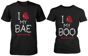 I Heart My Bae and Boo Pointing Each Other Horror Matching Couple T-shirts for Halloween