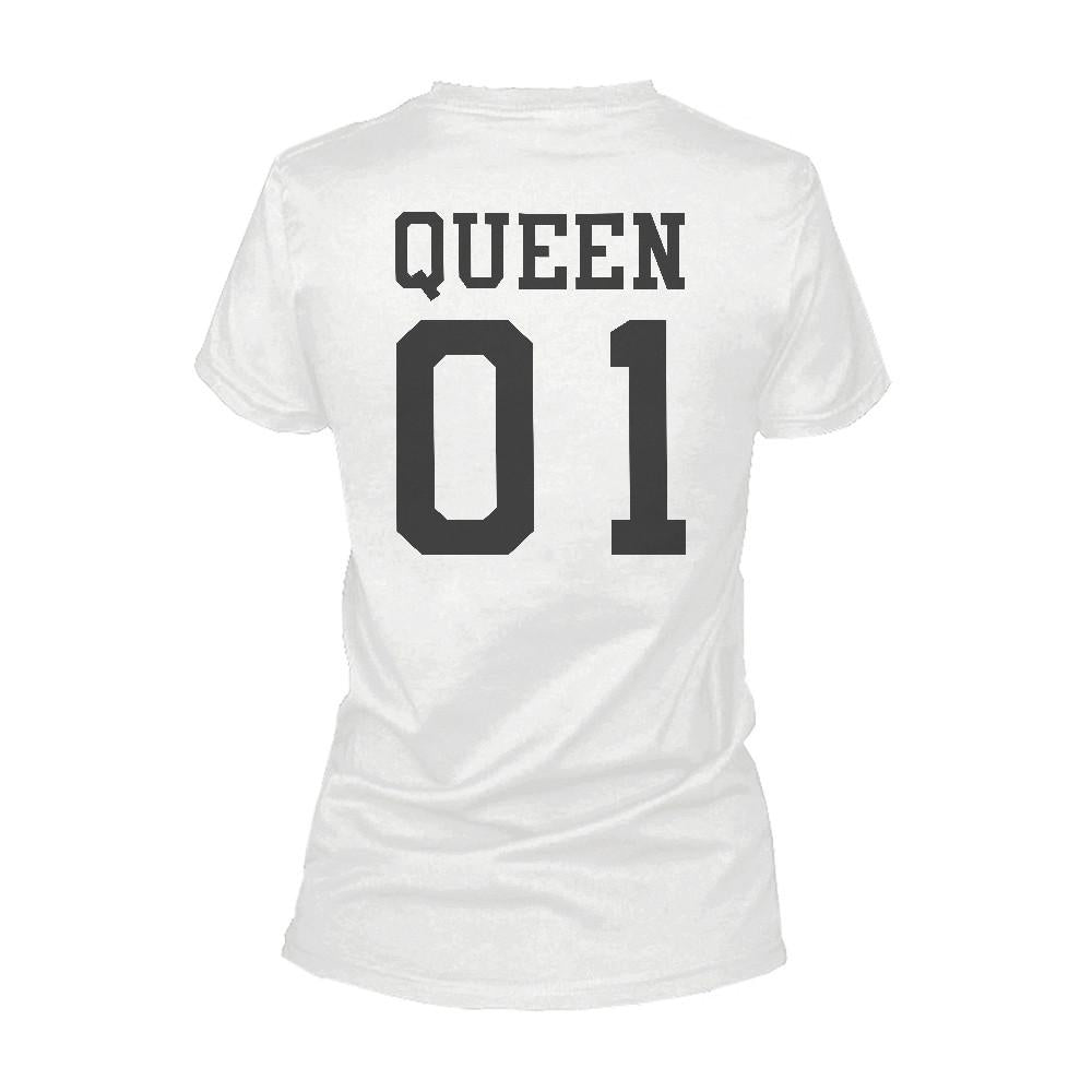 365 Printing King 01 And Queen 01 Matching Graphic T-shirt Set Cute White Couple Tees