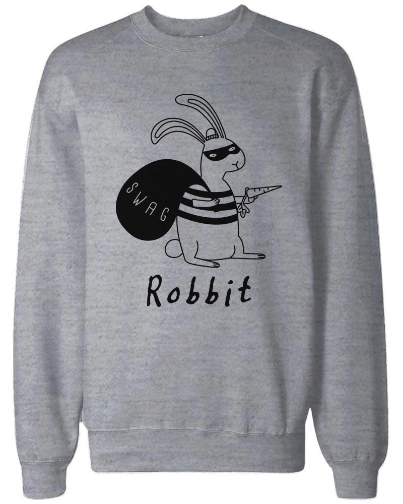 Robbit Funny Christmas Grey Sweatshirt Great Gift Idea for Holiday