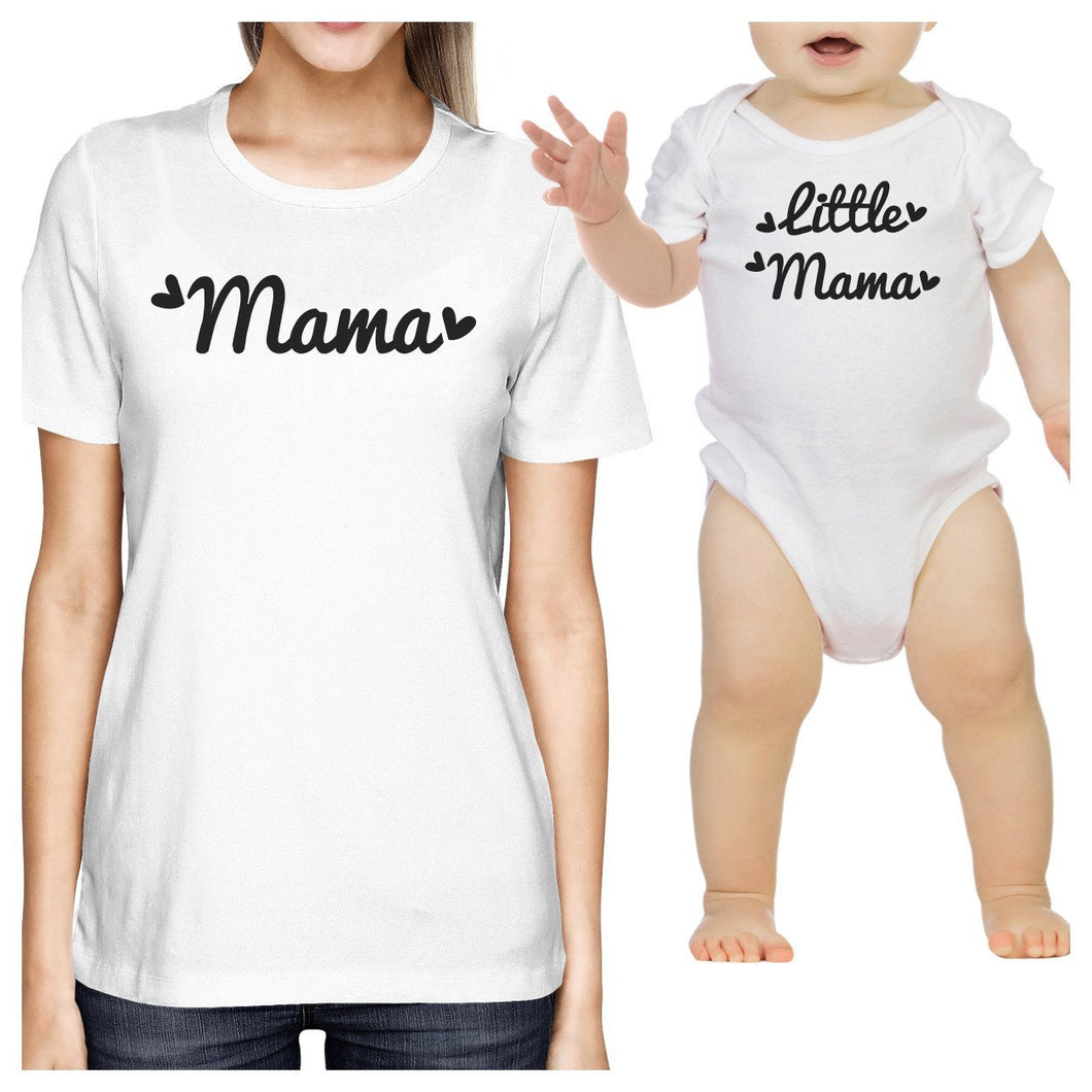 Mama & Little Mama White Mom and Baby Girl Couple T Shirt Onesie