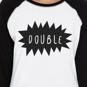 Double Trouble BFF Matching Black And White Baseball Shirts