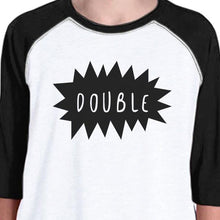 Double Trouble Kid and Baby Matching Black And White Baseball Shirts