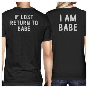 If Lost Return To Babe And I Am Babe Matching Couple Black Shirts