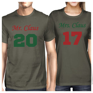 Mr. And Mrs. Claus Matching Couple Dark Grey Shirts