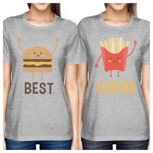 Hamburger And Fries BFF Matching Shirts Womens Grey Round Neck Tee