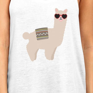 Llamas With Sunglasses BFF Matching White Tank Tops