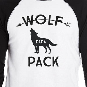 Wolf Pack Papa Mama Baby Mens Black And White Baseball Shirt