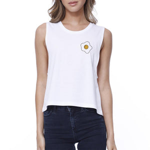 Fried Egg Funny Graphic Design Printed Women's White Crop Top