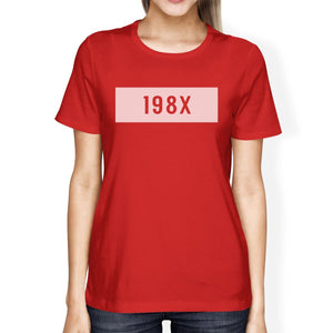 198X Women's Red Short Sleeve T Shirt Cute Graphic Design Tee