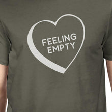 Feeling Empty Heart Men's Dark Grey Funny Graphic Witty Quote Shirt