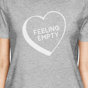 Feeling Empty Heart Grey Cute Crewneck T-Shirt Trendy Design