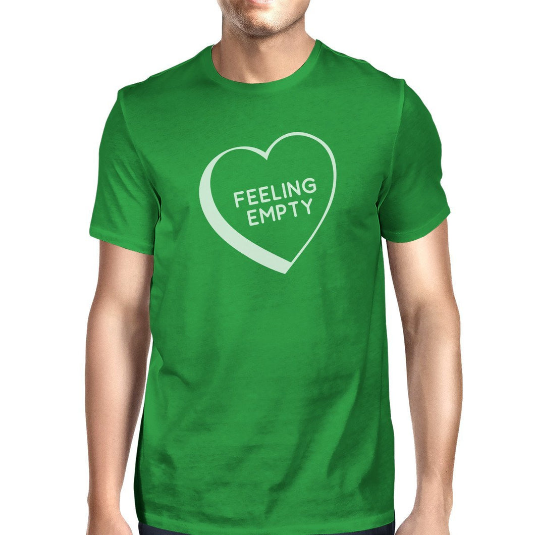 Feeling Empty Heart Men's Green Crew Neck T-Shirt Funny Graphic