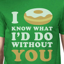 I Doughnut Know Men's Green Crew Neck T-Shirt Funny Graphic Top