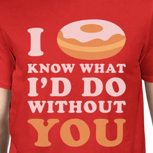 I Doughnut Know Mens Red T-Shirt Funny Design Comfortable Men's Top
