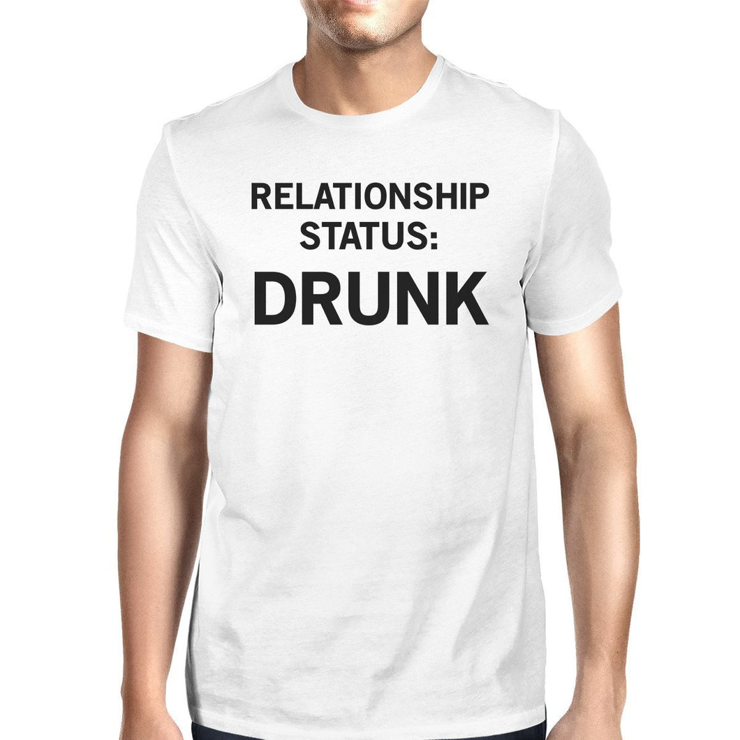 Relationship Status White Short Sleeve Round Neck T-Shirt For Men