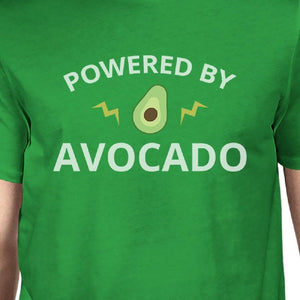 Powered By Avocado Mens Green Cotton Unique Design T Shirt For Guys