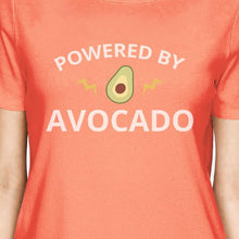 Powered By Avocado Peach Trendy Design Graphic Short Sleeve T Shirt