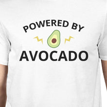 Powered By Avocado Men's White Trendy Design Graphic Tee For Guys