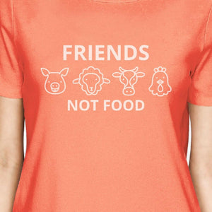 Friends Not Food Peach Earth Day Inspired Design Cute Graphic Tee