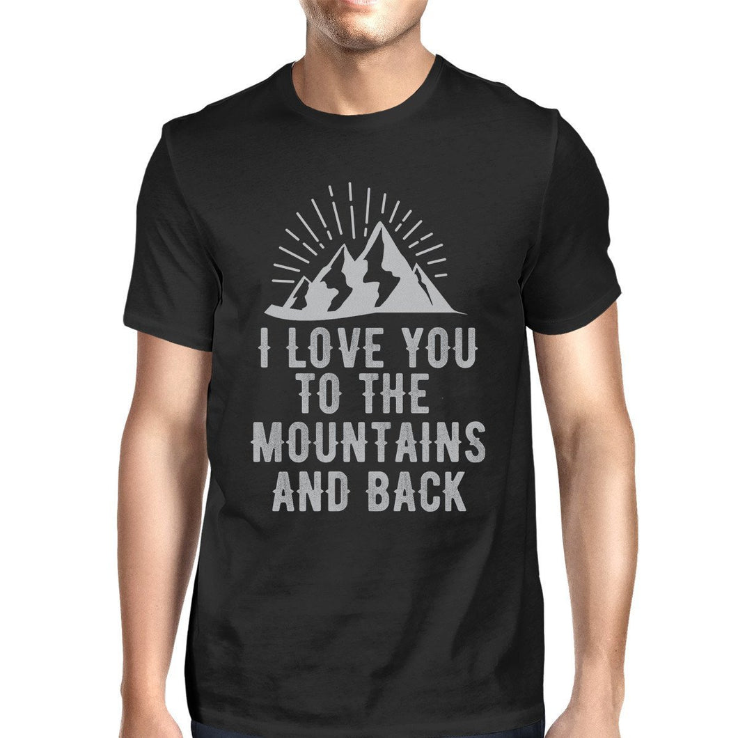 Mountain And Back Mens Black Short Sleeve T-Shirt For Hiking Lovers