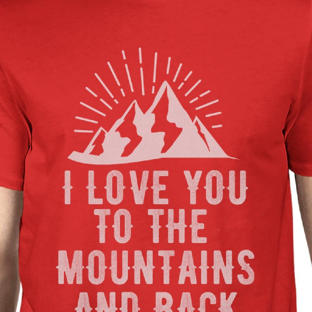 Mountain And Back Men's Red Crew Neck T-Shirt Gift Ideas For Dads