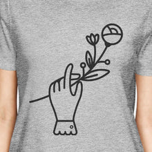 Hand Holding Flower Grey Unique Graphic Summer Shirt For Women