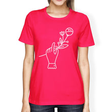 Hand Holding Flower Hot Pink Womens Summer Top Unique Design Shirt