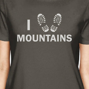 I Heart Mountains Women's Dark Grey T Shirt Cute Gift Idea For Him