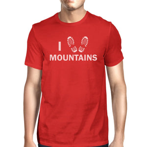 I Heart Mountains Men's Red Crew Neck T-Shirt Gift Ideas For Dads