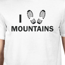 I Heart Mountains Men's White Round Neck T-Shirt Gift For Grandpa